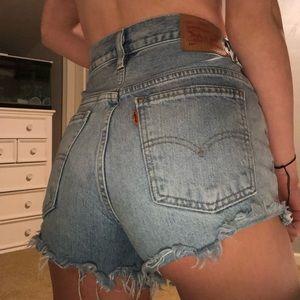 Orange tab levi's jean shorts